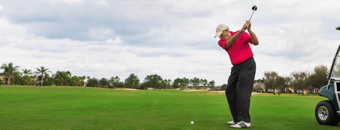 Senior Golfer Driving Ball 13x5 1